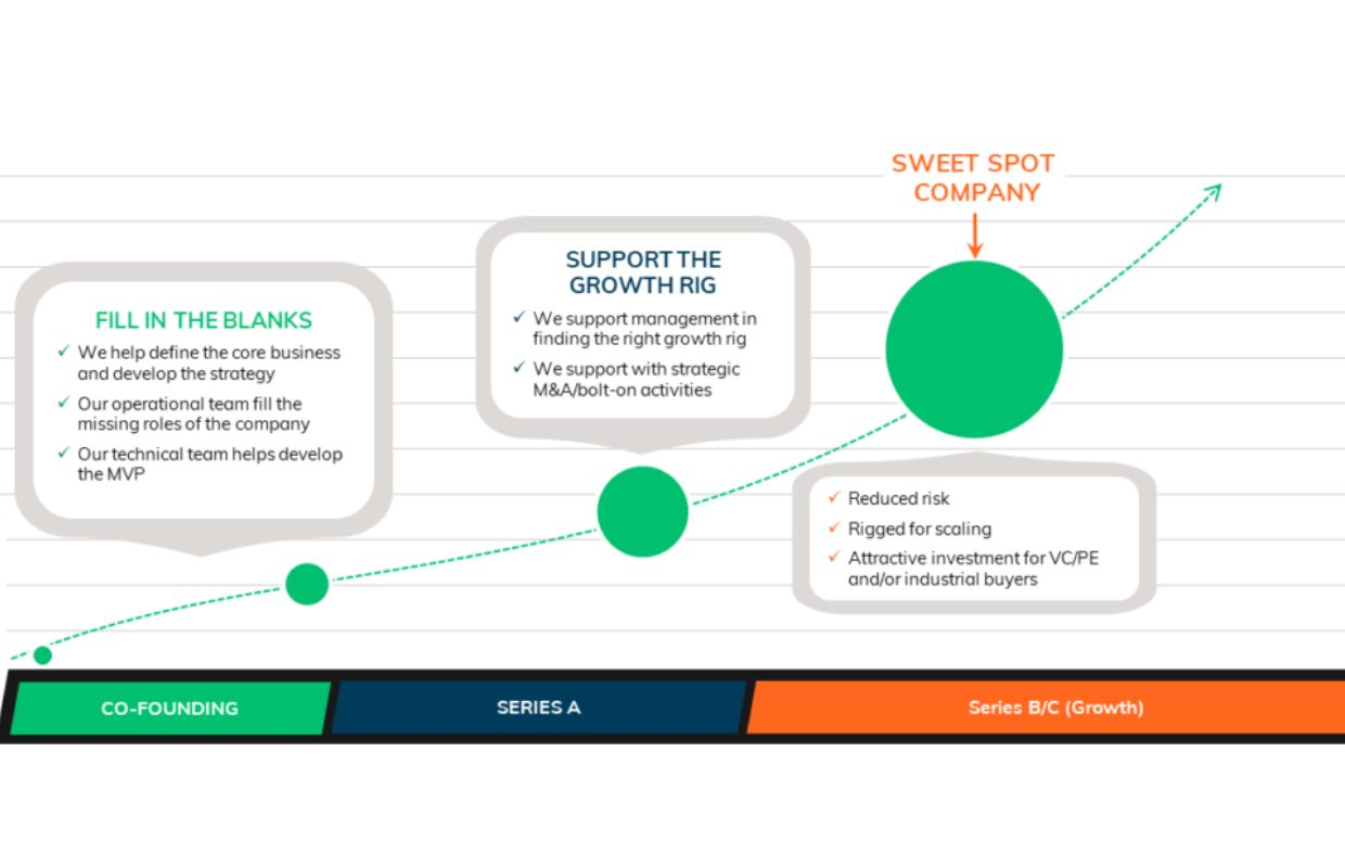 A diagram showing three stages, ranging from 1: Fill in the blanks, 2: Support the growth rig, 3: Sweet spot company.